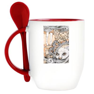 Кружка с ложкой  Алиса в Стране чудес