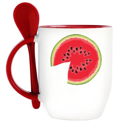 Кружка с ложкой watermelon