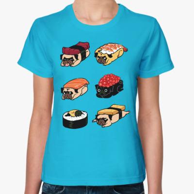 Женская футболка Суши мопс