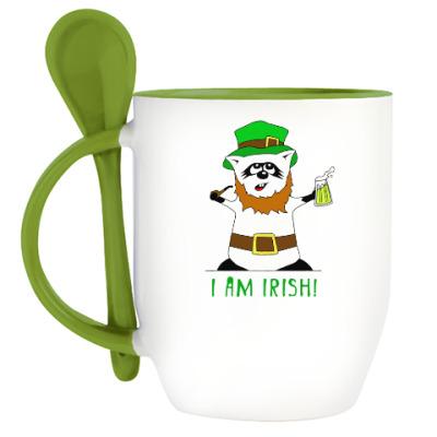 Кружка с ложкой Енот 'I am Irish!'