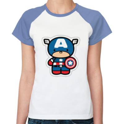 Женская футболка реглан Капитан Америка (Мстители)