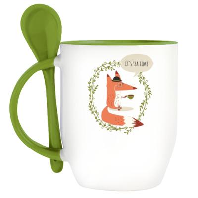 Кружка с ложкой Лисье чаепитие
