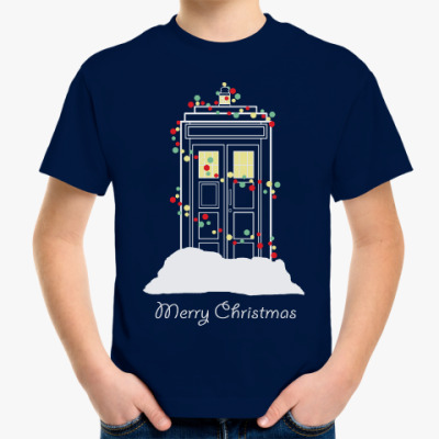 Детская футболка Новогодний Тардис Доктор Кто