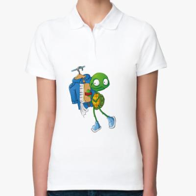 Женская рубашка поло Чистюля Черепашонок с щеткой