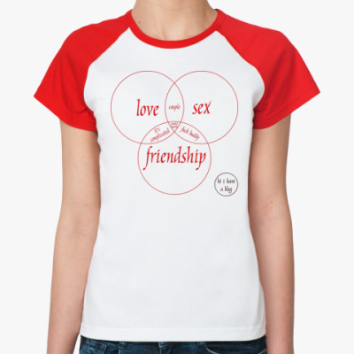 Женская футболка реглан LOVE, SEX, FRIEND