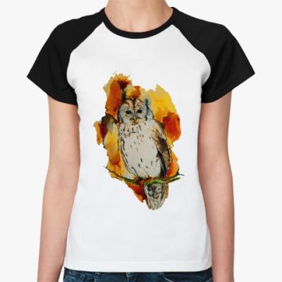 Женская футболка реглан Сова, акварель