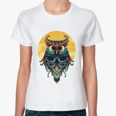 Классическая футболка Сова на фоне Луны