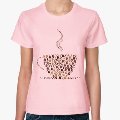 Женская футболка Кофе из кофейных зерен