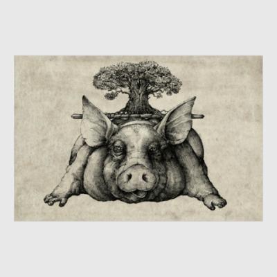 Постер Свинья под дубом