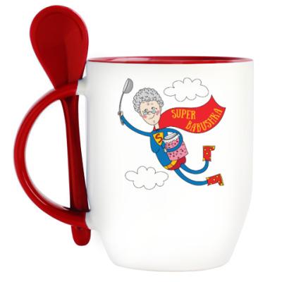 Кружка с ложкой Супер - бабушка!