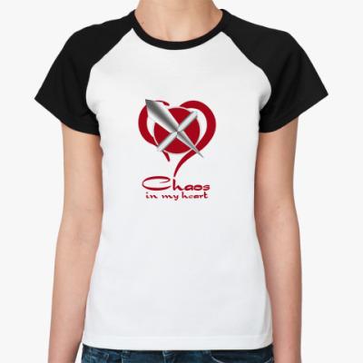 Женская футболка реглан  (жен,Noir,F012)