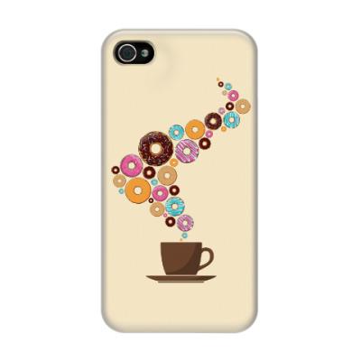 Чехол для iPhone 4/4s Кофе с пончиками
