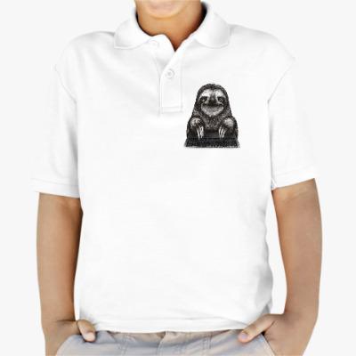 Детская рубашка поло Ленивец компьютерный