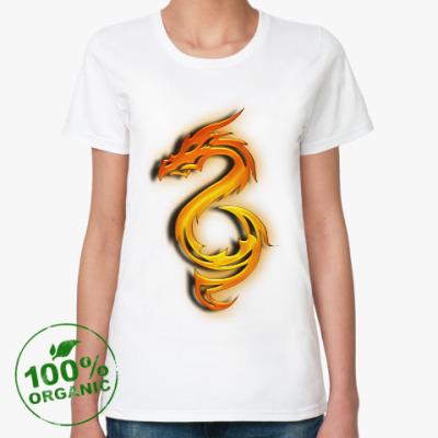 Женская футболка из органик-хлопка Огненный дракон