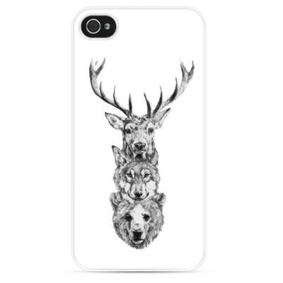 Чехол для iPhone Олень, волк, медведь