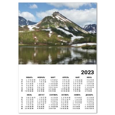 Календарь Полуостров Камчатка, горы, горное озеро, отражение