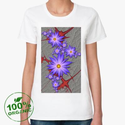 Женская футболка из органик-хлопка  Цветы на крови