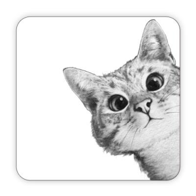 Костер (подставка под кружку) Любопытный котик