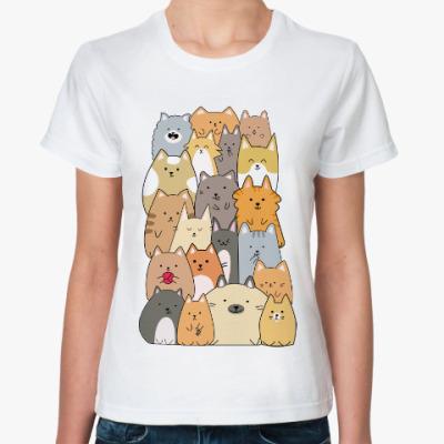 Классическая футболка Смешные коты (funny cats)