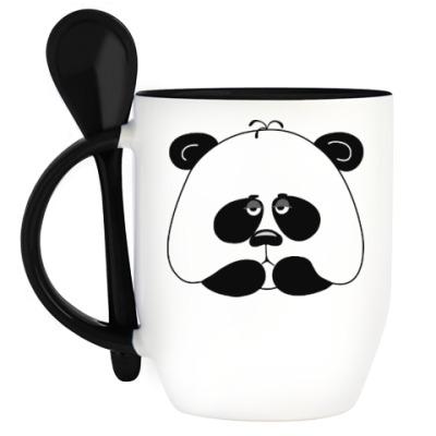 Кружка с ложкой Грустная панда