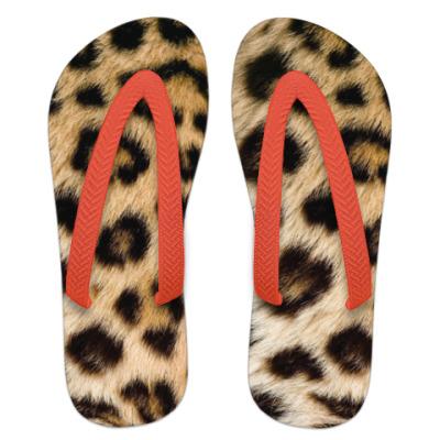 Шлепанцы (сланцы) шкура леопарда, имитация