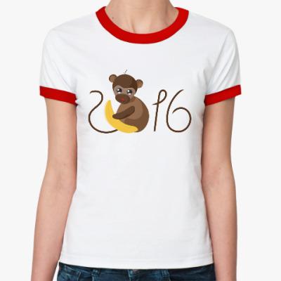Женская футболка Ringer-T Обезьянка Биззи 2016