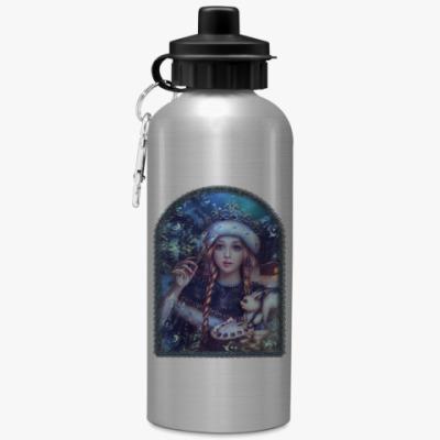 Спортивная бутылка/фляжка Новогодняя Снегурочка с белкой