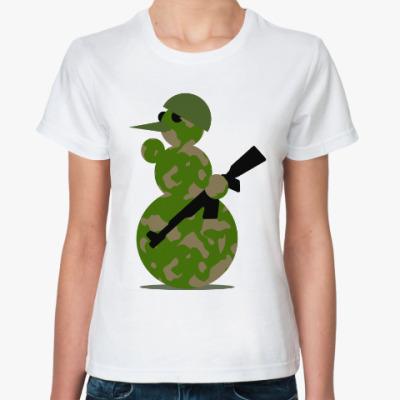 Классическая футболка Военный снеговик