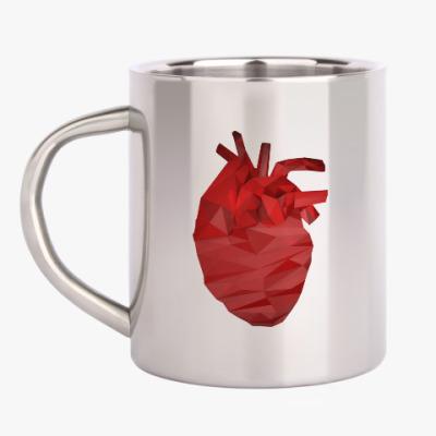 Кружка металлическая Сердце 3D