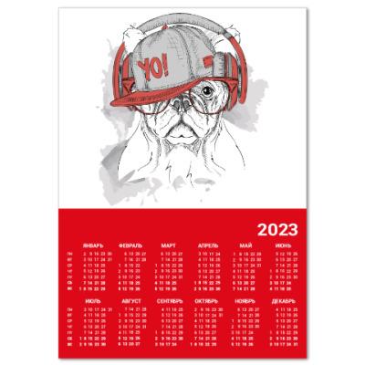 Календарь Собака в наушниках