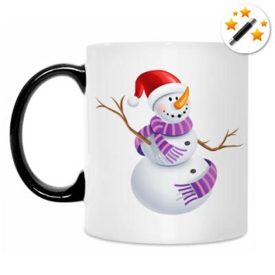 Кружка-хамелеон Снеговик