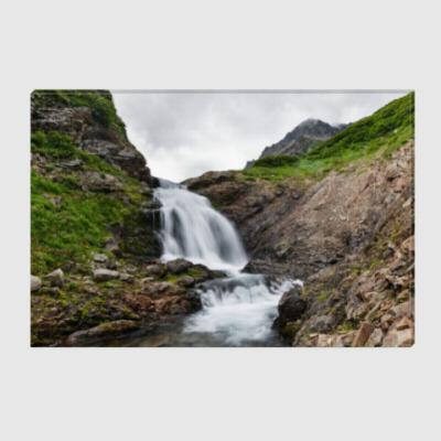 Холст Камчатка, водопад на реке