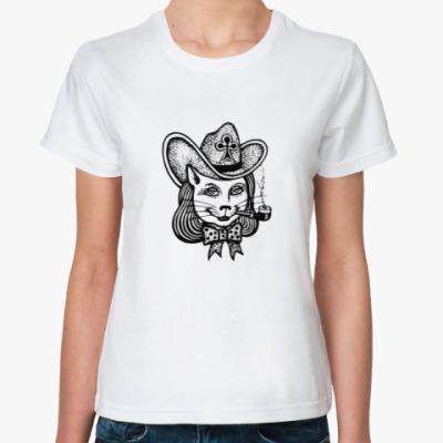Классическая футболка Кошка в шляпе с трубкой