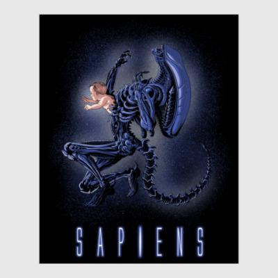Постер Alien Sapiens Чужой пародия