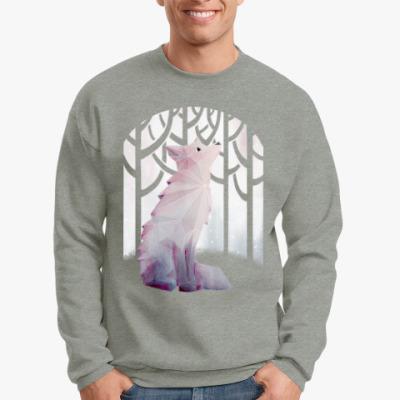 Свитшот Зимний Лис в снегу Winter fox