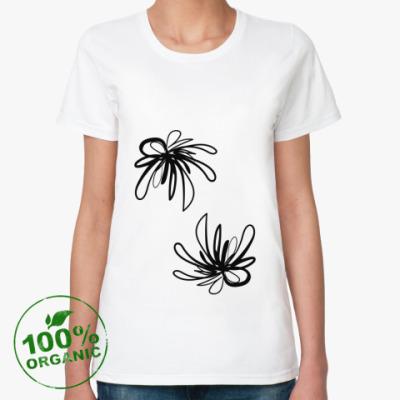 Женская футболка из органик-хлопка Абстрактные цветы