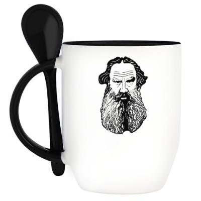 Кружка с ложкой Лев Толстой