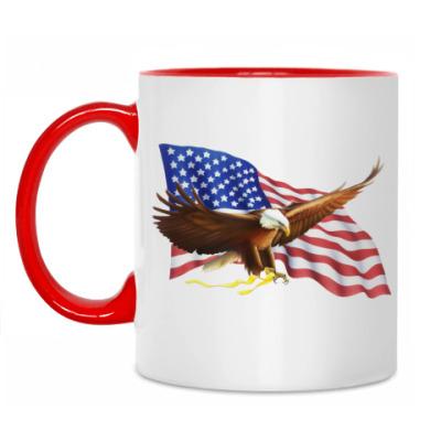 Кружка Орел на фоне флага США
