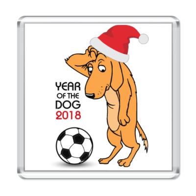 Магнит Символ 2018 года желтая земляная собака
