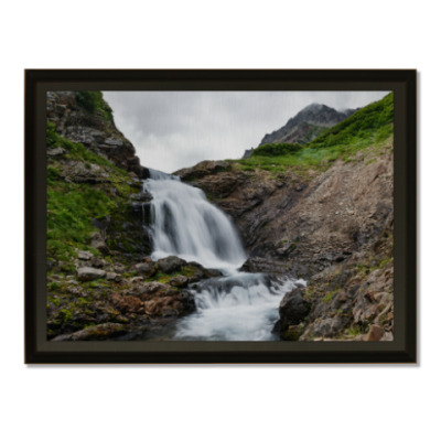 Плакетка Камчатка, водопад на реке