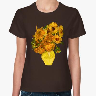 Женская футболка Подсолнухи полигональные