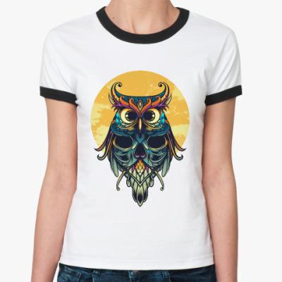 Женская футболка Ringer-T Сова на фоне Луны