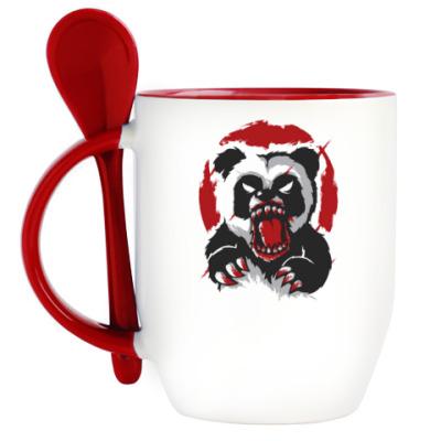 Кружка с ложкой Очень Злая Панда