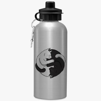Спортивная бутылка/фляжка Черный и белый кот инь-ян