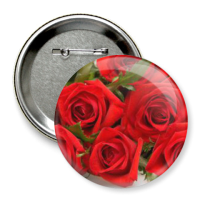 Значок 75мм розы