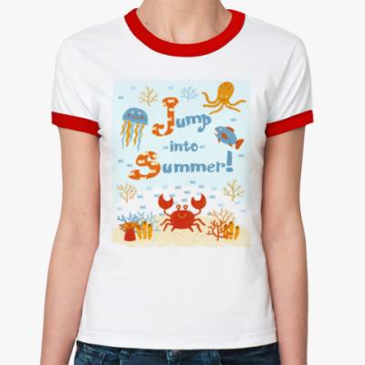 Женская футболка Ringer-T Jump into summer!