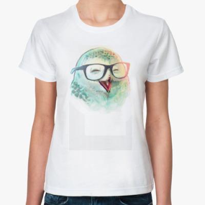 Классическая футболка совушка в очках