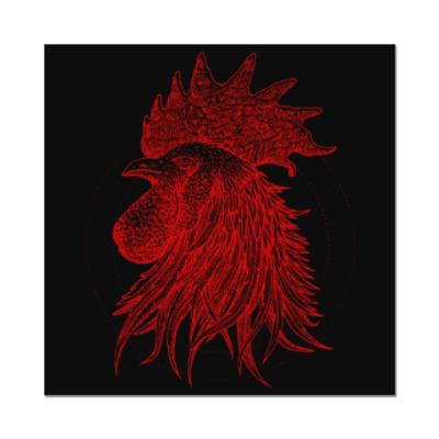 Наклейка (стикер) Красный петух символ Года