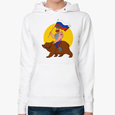Женская толстовка худи Русский на медведе