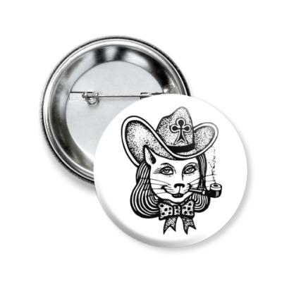 Значок 50мм Кошка в шляпе с трубкой